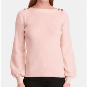 RALPH LAUREN Soft Pink Ribbed Boatneck Top NWT